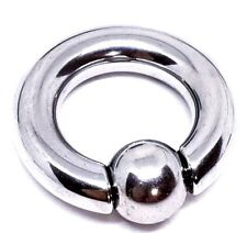 Heavy Large Gauge 2g (6mm) BCR Spring Snap Fit Ball Closure Ring Prince Albert
