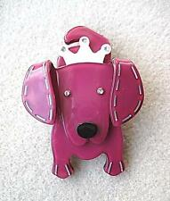 Quirky & Cute Pink & White Lucite? & Crystal Dog Brooch