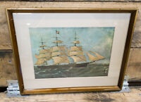 """Vintage: Nautical Themed Framed Print - Matted w/ Wood Frame, 13""""X10"""""""