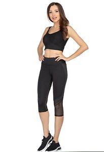 Women's High Waisted Sports Yoga Slim Fit Mesh Workout Fitness 3/4 Leggings HL56