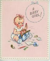 VINTAGE BABY CUTE GIRL MOMS BLUE PURSE RED LIPSTICK DRESS UP ART GREETING CARD