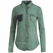Ladies/womens Long Sleeve Semi Fitted Denim Shirt 8-16 Casual in Two Colours MINT Green 10