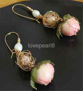 white cultured freshwater pearl Earrings 22x40mm 14k filled gold