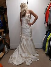 Veromia wedding dress Bridal Gown Strapless Satin Boned Size 12