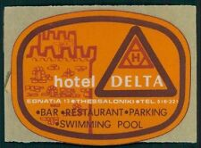 DELTA Hotel old luggage label THESSALONIKI Greece sticker