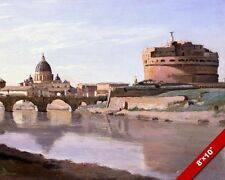 CASTEL SANT ANGELO & VATICAN DOME ST PETERS ROME ITALY PAINTING ART CANVAS PRINT