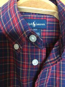 Ralph Lauren Toddler Boy 3/3T Plaid Button Down Long Sleeve Shirt EUC 100%cotton