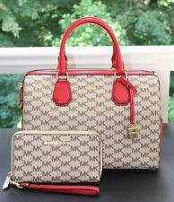 MICHAEL KORS Studio Mercer Signature Duffle Satchel Bag & Wallet NAT/Red