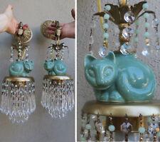 2 Sconces Brass vintage lamp CAT Porcelain Deco ins Jade Beaded crystal Prisms