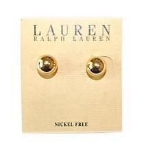 NEW WOMEN'S RALPH LAUREN GOLD PLATED BALL EARRINGS 8MM