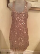 Max Studio Taupe/gold stretch sequins sleeveless tank dress-sz Med $98-NWOT