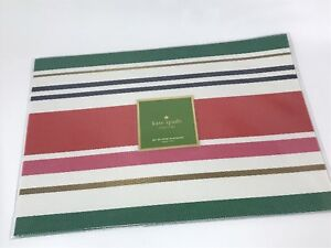 Kate Spade New York Maple Street Striped Vinyl Holiday Placemats Set of 4 NEW