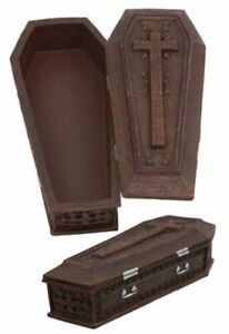 "Vampire Dracula Coffin Jewelry Box Rest In Peace Casket Trinket Box Figurine 8""L"