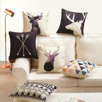Home Decor Nordic Geometry Deer Cotton Linen Throw Car Pillow Case Cushion Cover