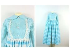 Vintage Dress 60s Sky Blue & White Gingham Plaid Renaissance Festival Revival XS