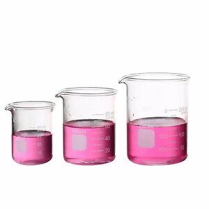 Buy1get1free Glass Measuring Low Form Beaker 50ml 100ml 250ml Graduated Beaker