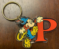 """Vintage Keychain Disney Letter P Initial """"P"""" Mickey Mouse"""