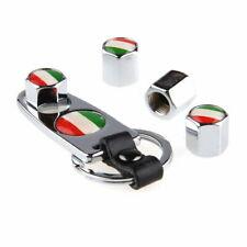 4Pcs Car Wheel Tire Tyre Air Valve Stem Caps with Wrench Keychain Italian Flag