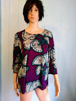 JOSTAR 3/4 Sleeve TOP Purple & Teal FLORAL SLINKY Poly Spandex No Iron S,M,L,XL