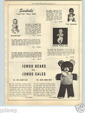 1951 PAPER AD Sunbabe Rubber Doll Amosandra Black Baby Ideal Toni Tickletoes