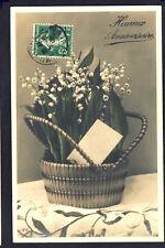 cpa Ecrite 1913 Panier de MUGUET Porte BONHEUR Mr LOISEAU Cultivateur à CHANGIS