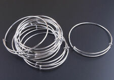 NEW! BULK LOT 10pcs Expandable Silver Bangle Bracelet Wire Wrapped Adjustable