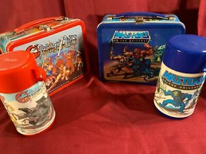 THUNDERCATS & MASTERS OF THE UNIVERSE  MOTU LUNCHBOXES w/ THERMOS - EXC COND