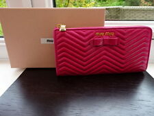 100% Authentic PRADA / MIU MIU Bright Pink Quilted Bow Leather Purse Wallet