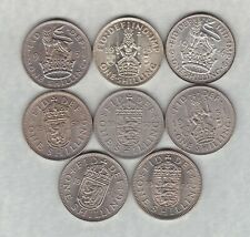 More details for eight 1945 to 1965 type set of shillings in near mint condition