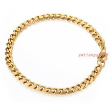 """7""""-11"""" Mens Bracelet Stainless Steel Gold Color Curb Cuban Link Chain Jewelry"""