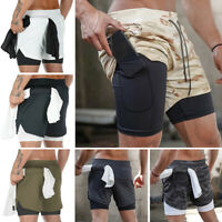 Jogging Double Layer Pants Mens Fitness Shorts Training Gym Summer Pocket Casual