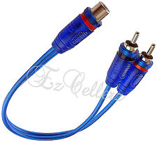 1 Female 2 Male Y-Adapter Split Blue Rca Cable Gold Plated Audio Cable Flexible