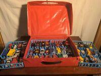 **70's, 80's, & 90's Matchbox** 48 Die Cast & Plastic Mini Cars With Car Case