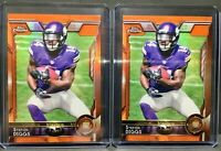 2015 Topps Chrome Orange Refractor Stefon Diggs Rookie Card Lot (2) RC #148