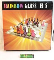 Rare Vintage Rainbow Translucent Coloured Glass Chess Complete Set