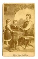 1800's VICTORIAN CARD*LITTLE SHIP BUILDERS*CHILDREN*DOG*SAILBOAT*BARREL