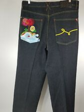 Lng Jeans Mens Root Equipment Sz 38X32 measured Dark Wash embroidered