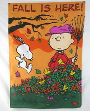 "Peanuts Snoopy ""Fall is Here "" Charlie Brown Large Yard Flag 40.5"" x 28.5"""