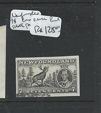 NEWFOUNDLAND (PP1203B) KGVI CORONATION 7C IMPERF PLATE PROOF IN BLACK