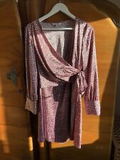 Leopard Print Pink Red Herring Debenhams Faux Wrap Dress Size 14