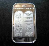 5 X 1oz TEN 10 COMMANDMENTS .999 PURE SILVER BARS ~ UNC & SEALED IN VINYL !