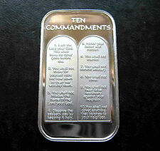 5 X 1oz TEN 10 COMMANDMENTS .999 PURE SILVER BARS ~ UNC & SEALED IN VINYL !