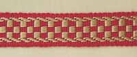 "1.25"" Braid 3 YD Cranberry Red and Gold Has Matched Rosette Chair Tie"