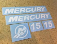 Mercury Vintage Outboard Motor 15 HP Decal Kit FREE SHIP + FREE Fish Decal!