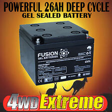 26AH GEL DEEP CYCLE 12V BATTERY SOLAR GOLF SCOOTER CAMPING MOBILITY MARINE CAR