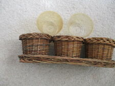 3 Woven Twig Plant Pot Baskets On Rectangular Base