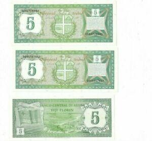pack 3 pcs   Aruba, 5 florin, 1986, P-1, UNC > First Banknote