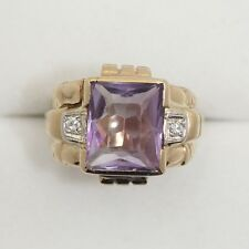 14k Gold Synthetic Amethyst Ring with Diamonds Size 8.5 Sizable