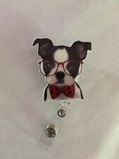 Cute Boston Terrier With Glasses SD Retractable Reel ID Badge Holder Lanyard