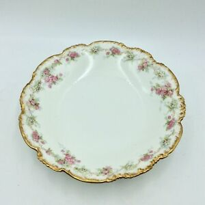"Vintage JP France Vorenbergs Boston Bowl 9.5"" Gold Trimmed Flower Edged Serving"